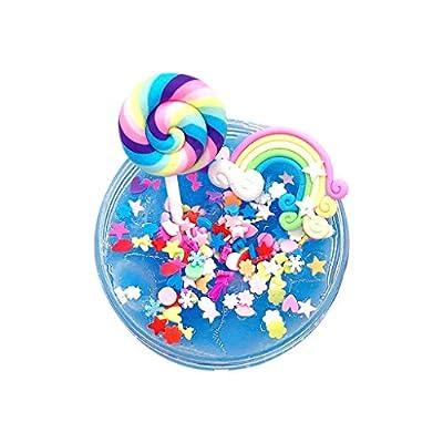 QXLhxuIo Fluffy Slime Crystal Slime DIY Rainbow Lollipop Mud Cloud Slime Coloré Rainbow Cloud Slime Putty Parfumé Stress Clay Crystal Mud Toy 100ml (a)