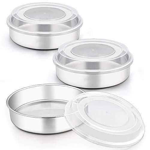 TeamFar 8 Inch Cake Pan, Stainless Steel Round Layers Cake Baking Pans with Lids, Non-Toxic & Durable, Dishwasher Safe & Smooth Surface, One-piece Molding & Leakproof, Set of 6 (3 Pans + 3 Lids)