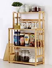 Bamboo Spice Rack Storage Shelves-XL 4 tier Standing pantry Shelf for kitchen counter storage,Bathroom Countertop Storage Organizer Desk Bookshelf with Adjustable Shelf Cabinet