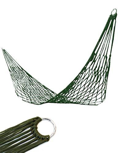 Outdoor Saxx® - Hänge-Matte, Hammock Paracord Netz Schaukel, Sitz-Matte für Reise Camping Garten, mit Ösen zur Befestigung, Liegefläche 2m x 80cm, Oliv-grün