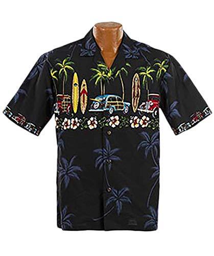 Made in Hawaii Original Hawaiihemd Aloha Shirt Herren Alle Grössen M-7XL Moderne Designs Fronttasche Matching Pocket Hohe Qualität 100% Baumwolle (Classic Woody, XXL)