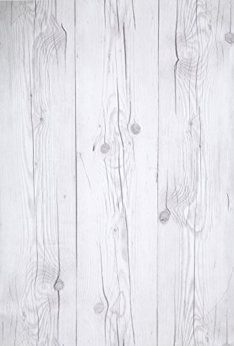 """(Blanco Vintage, Paquete de 1) Papel tapiz de mural autoadhesivo con veta de madera reciclada y rústica 50cm X 3M (19,6"""" X 118""""), 0,15mm Para revestimiento de restauración de muebles, sala de estar"""
