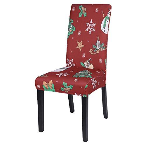 NNGZ Stuhlbezug Sitzflache 1/2/4 / 6Pcs Christmas Chair Cover Weihnachtsmann Stühle Cover Cap Esstisch Red Hat Back Decorations F. 6Pcs