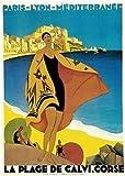 Calvi, Korsika, Frankreich. Vintage Art Deco Reise Poster,