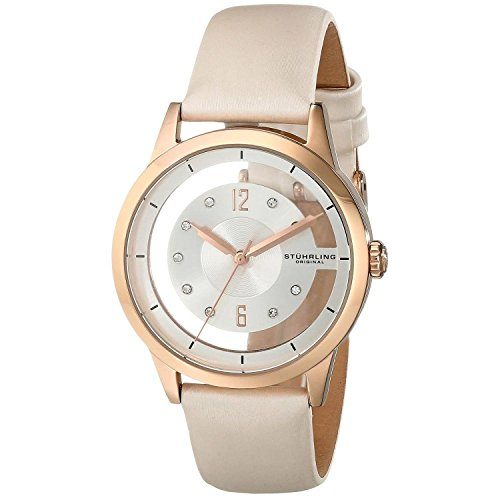 Stuhrling Original Winchester 946L Women's Quartz Watch with White Dial Analogue Display and Off-White Leather Strap 946L. 02