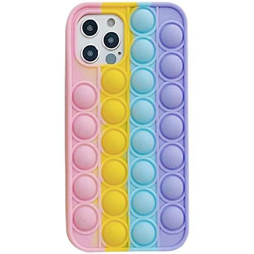 Clysburtuony Funda de silicona suave para iPhone 6/6Plus/7/8/7Plus/8Plus/XS/XR/XS MAX/11/11Pro/11Pro MAX/12/12Pro/12Pro MAX (Rainbow, iPhone 8Plus)