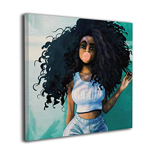 Ale-art African Girl Bubble Black Natural Curly Hair Contemporary Pictures Canvas Painting Modern Artwork