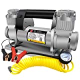 BELEY Portable 12V 480W Heavy Duty Double Cylinders Air Pump, Air Compressor with Battery Clamp and 5M Extension Air Hose, Tire Inflator 150-200 PSI for Car, Truck, SUV Tires etc
