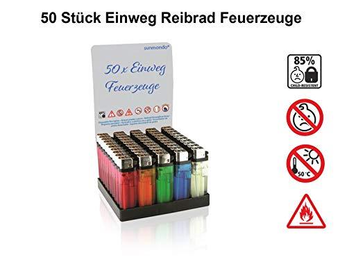 SUNMONDO Qualitäts -Einwegfeuerzeuge Reibrad mit Kindersicherung, farbig transparent gemischt (50 Stück)