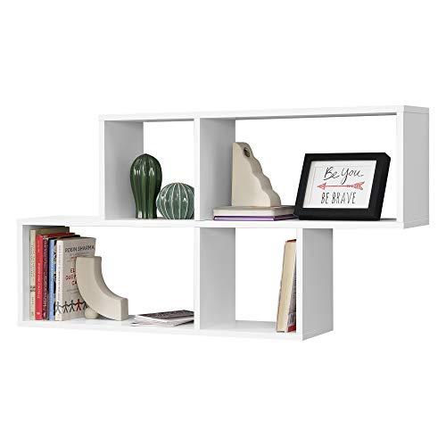 Mensola da Parete con 4 Scomparti a Cubo/Rettangolo 100 x 19,5 x 53 cm Scaffale Pensile con Ripiani Portaoggetti Libreria - Bianco