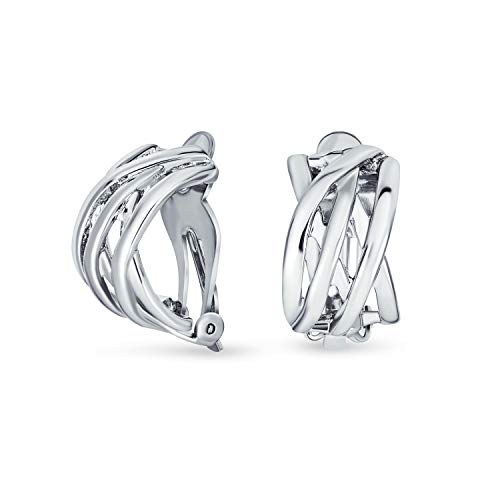 Open Criss Cross Celtic Knot Weave Wide Half Hoop Clip On Earrings For Women Non Pierced Ears Silver Plated Brass