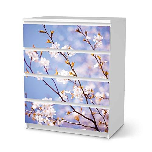 creatisto Möbelfolie passend für IKEA Malm Kommode 4 Schubladen I Möbelsticker - Möbel-Tattoo Sticker Aufkleber I Deko Ideen Wohnung für Schlafzimmer, Wohnzimmer - Design: Apple Blossoms