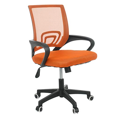Trintion Office Chair Ergonomic Desk Chair with Lumbar Support Adjustable Height Swivel Office Fabric Mesh Computer Chair for Home Office Comfy Padded Chair (Orange)