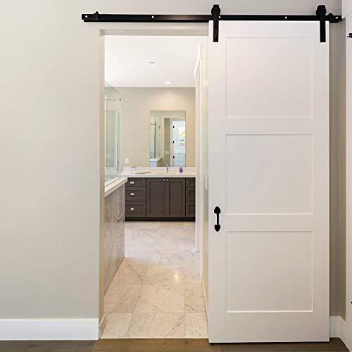homgrace–Herraje para puerta corredera de 6,6ft colgantes Carril Sistema de puerta corredera puerta de hardware de Kit para puertas correderas puertas interiores