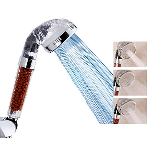 High Pressure Ionic Shower Head, 3 Mode Function Filtered Filter Filtration Stone Stream Showerhead, Anion Energy Ball Purifies & Water Saving Water Shower for Dry Hair & Skin (transparent)