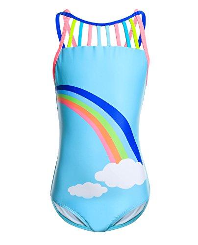 iDrawl Blau Badeanzug für Mädchen Sommer Regenbogen Bademode Größe M