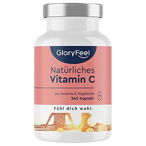 Natürliches Vitamin C - 240 Vegane Kapseln (4 Monate) - Acerola-Extrakt und Hagebutten-Extrakt 400mg reines Vitamin C in Premium-Qualität - Laborgeprüft ohne Zusätze in Deutschland hergestellt