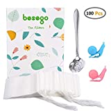 Besego 100Pcs Drawstring Tea Filter Bags with Spoon and 2 Cup Clip, Safe & Natural Material, Disposable Empty Tea Infuser Bag for Herb and Loose Leaf Tea, 1-cup capacity (3.2×4.2in)
