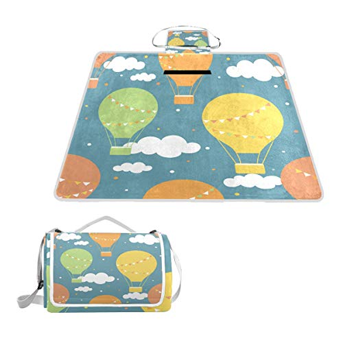 XINGAKA Picknickdecke,Luftballons Hand gezeichnetes nahtloses Muster,Outdoor Stranddecke wasserdichte sanddichte tolle Picknick Matte