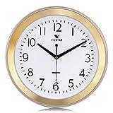 Lafocuse Reloj de Pared Silencioso Metal Clasico Reloj Cuarzo Sencillo Dorado para Salon Comedor Dormitorio 33 cm