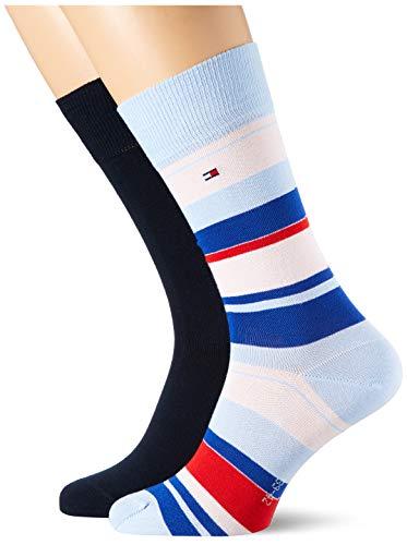 Tommy Hilfiger Mens Color Stripe Men's (2 Pack) Socks, Light Blue, 43/46
