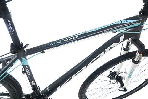 KRON TX-100 Aluminium Mountainbike 28 Zoll   21 Gang Shimano Kettenschaltung mit Scheibenbremse   18 Zoll Rahmen MTB Erwachsenen- und Jugendfahrrad   Grau Blau - 6