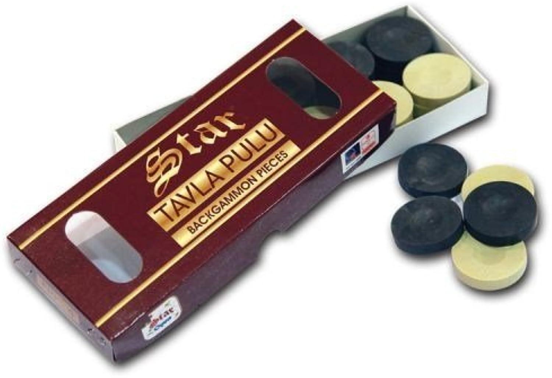 Turkish Premium Quality STAR Tavla Pulu Black White Backgammon Pieces Checkers by Bethlehem Gifts TM