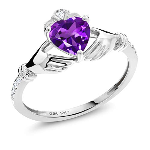 Gem Stone King 10K White Gold Purple Amethyst and White Diamond Irish Celtic Claddagh Ring (0.86 Ct Heart Shape, Available in size 5, 6, 7, 8, 9)