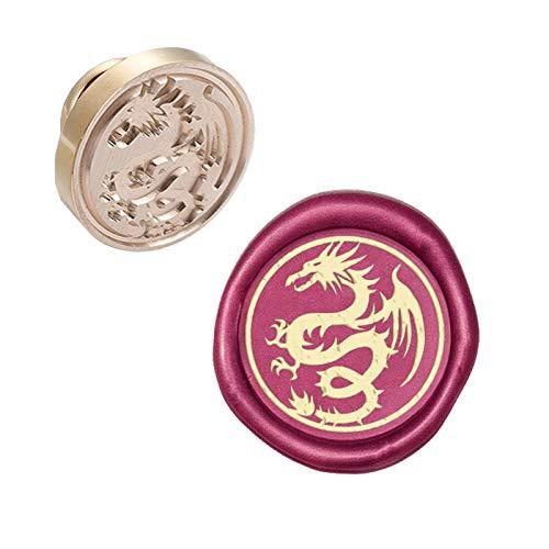 CRASPIRE Wax Seal Stempelkopf Dragon Abnehmbare Versiegelung Messing Stempelkopf Für Kreative Geschenkumschläge Einladungskarten Dekoration