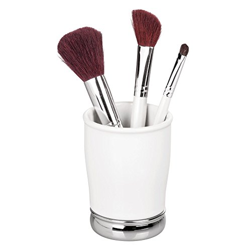 InterDesign York Ceramic and Metal Tumbler, Makeup Brush Toothbrush Holder Cup for Bathroom,...