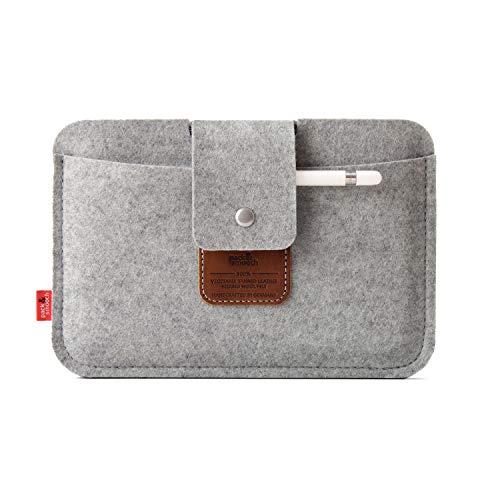 Pack und Smooch iPad Mini Case Sleeve Hülle LLEYN Aus 100prozent Merino Wollfilz Handmade in Germany - Grau/Hellbraun