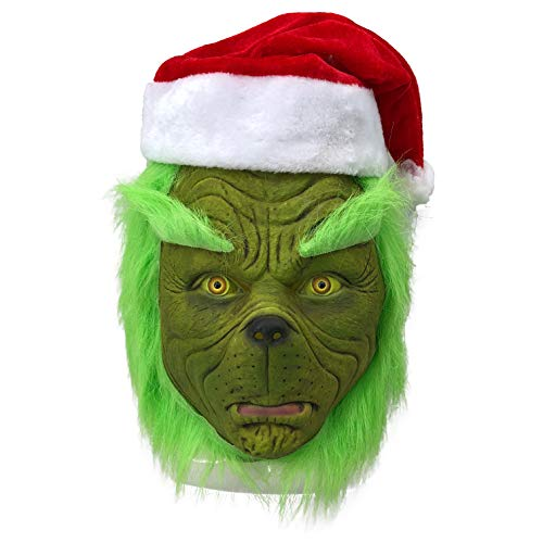 Moonorn Christmas Cosplay Costume Mask Halloween Party Props, One Size Fits Adults & Kids (Grinch)