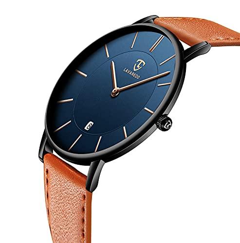Watch, Mens Watch, Minimalist Fashion Simple Wrist Watch Analog Date with Leather Strap Orange Blue