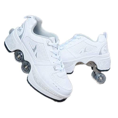 AXYQ Inline-Skate, 2-in-1-Mehrzweckschuhe, Verstellbare Quad-Rollschuh-Stiefel,White-40