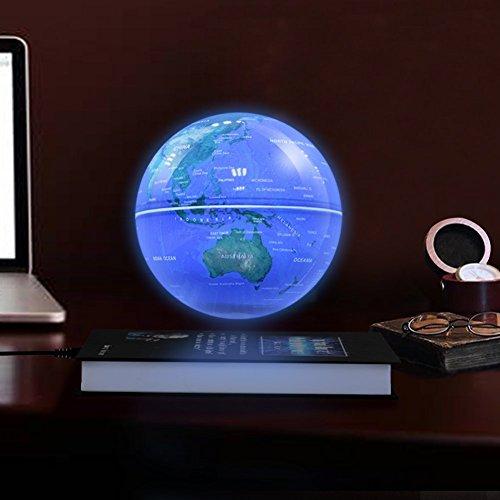 Qkiss 6 Zoll LED Schwebender Globen, Schwebender Design Kugel Anti Schwerkraft Rotierende Erde Globus Kugel, Schweben Floaten Weltkarte Globus für Unterricht und Bürodekoration