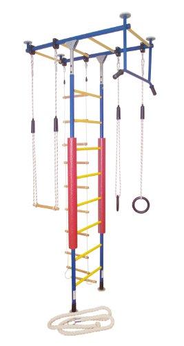 KletterDschungel Sprossenwand Indoor Klettergerüst für Kinder (Blau/Gelb, für Raumhöhen von 205-240 cm)