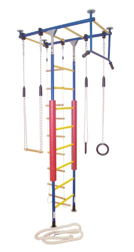 KletterDschungel Sprossenwand Indoor Klettergerüst für Kinder (Blau/Gelb, für Raumhöhen von 240-300 cm)