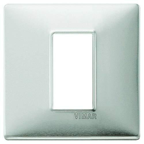 Vimar Placca 1 m, Alluminio Spazzolato