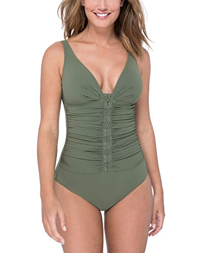 Profile by Gottex Women's Center Detail V-Neck Cup Sized One Piece Swimsuit, Moto Olive, 14D