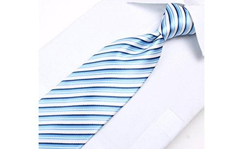 Coffret Vancouver - Cravate à rayures blanches, bleu ciel et bleu marine, boutons de manchette, pince à cravate, pochette de costume