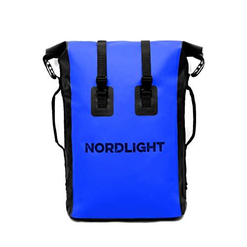 Nordlight Drybag 35 L Roll Top - (Blau) mit gepolstertem Tragegurt, Dry Bag Rucksack für Wassersport, Fahrrad Rucksack, Kurierrucksack, Trekking, Angeln