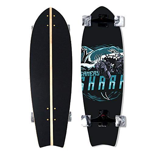 VOMI Completa Carver Skateboard Principiante Power Surfing Series Surfskate Skateboard, 33' Skateboards De Madera De Arce 8 Capas Tablas Completas Skate De Surf Vintage, Adultos Unisex