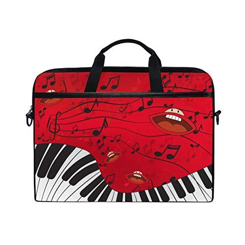 BEITUOLA 15-15.4 Zoll Laptop Taschen,Abstrakte Musik Hintergrund Klavier Gesang Münder,Verschiedene Muster multifunktionale Laptop Tasche tragbare Hülle Aktentasche Umhängetasche