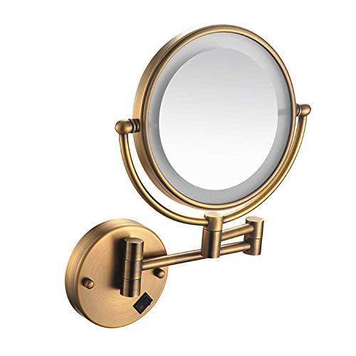 DCLINA Espejo Maquillaje para baño Espejo Afeitar Pared 8 Pulgadas con Carga USB Espejo Maquillaje con Luces LED y Aumento 1x/3x Espejo tocador con Brazo Extensible Batería Litio incorporada