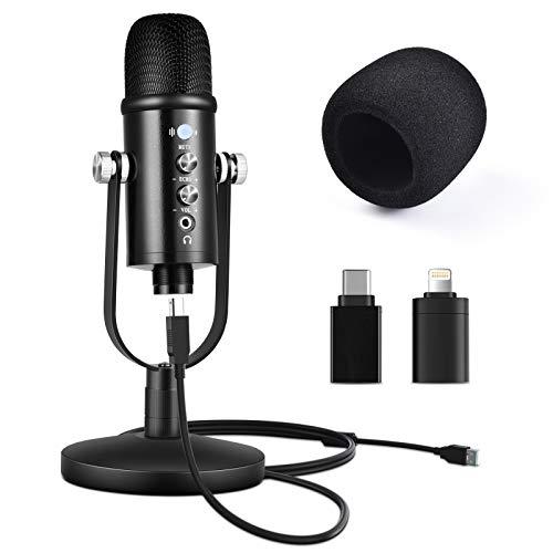 Micrófono USB, grabación de condensador con cancelación de ruido para PC y smartphone, micrófono de streaming Podcast para la grabación de streaming, botón de silencio, Plug and Play.