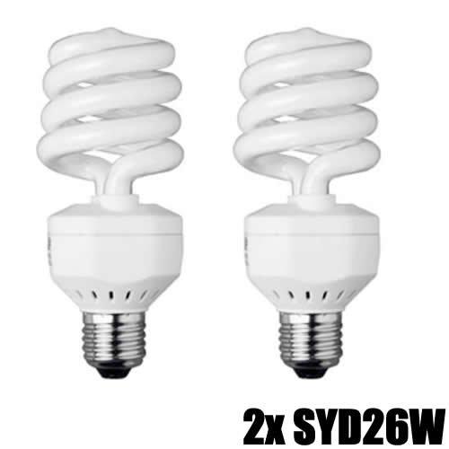 DynaSun Lámpara Daylight Kit 2X SYD26 150W Reales Bombilla Luz Bajo Consumo E27 Estudio Foto Video