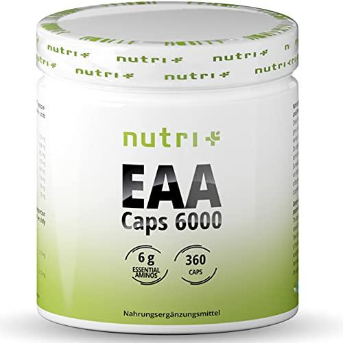 EAA Kapseln - 360 Mega Caps à 750mg - vegan & hochdosiert - 8 essenzielle Aminosäuren - EAAs 6000 (Essential Aminokapseln) - Proteinkapseln - Amino Supplement - Aminosäurekomplex