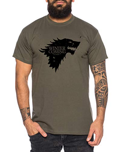 Coming Game T-Shirt pour Homme Cool Thrones Shirt, Größe2:Large, Farbe2:Kaki