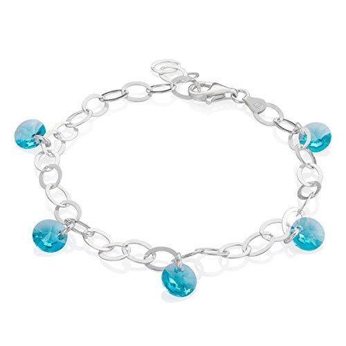 LillyMarie Damen Armkette Sterling-Silber 925 Swarovski Elements Kristalle Türkis Längen-verstellbar Geschenkverpackung Geschenke
