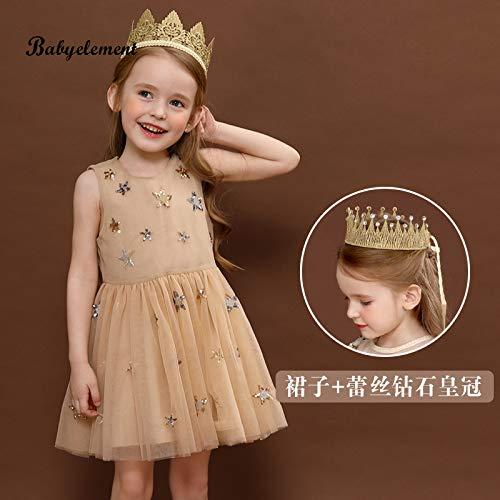 don997gfoh08yewi Meisjes jurk 2019 nieuwe ultra-yang kinderkleding zomerjurk 6 kleine meisjes 5 rok 3 pluizig garen 4 jaar oudChampagne + goud met diamanten kroon